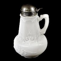 Antique EAPG Milk Glass French Primrose Syrup Pitcher, 1900's