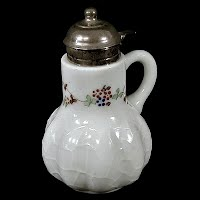 Antique EAPG Milk Glass Alba Syrup Pitcher, 1894 Dithridge Glass Co