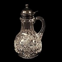 Antique EAPG Clear Royal Crystal Syrup Pitcher, 1894 Tarentum Glass