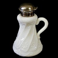 Antique EAPG Milk Glass Petunia Swirl Syrup Pitcher, 1900's