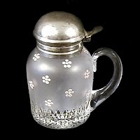 Antique EAPG Frosted Naomi Syrup Pitcher, 1901 McKee & Brother
