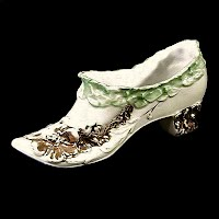 Antique Porcelain Shoe with green and gold trim, 1890