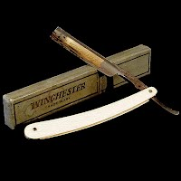 Antique Straight Edge Razor with Box, yellow bakelite or ivory handle, 1910 Winchester Trade Mark