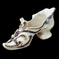 Antique Porcelain Shoe with Blue and Gold Trim, 1890's