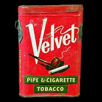 Antique Vintage Velvet Pipe and Cigarette Tobacco Tin Can