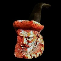 Vintage Wooden Pipe Carved Face