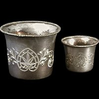 Antique Vintage Silver Engraved Smoking Set, 1890's