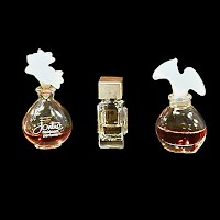 vintage miniature glass and metal perfume bottle, Jontues, Revlon, Paco Rabanne