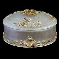 Antique Vintage camphor glass dresser vanity powder jar