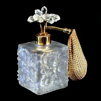 Vintage frosted glass with flowers perfume bottle