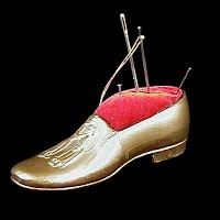 Antique Metal Shoe Pincushion, 1900