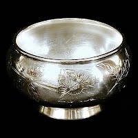 Silver Bowl with etched flowers, 1862-1877 Roger Smith & Co