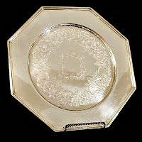 Vintage Engraved Silver Tray, 1985 Wallace Silversmiths