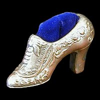 Vintage Metal Pincushion Shoe