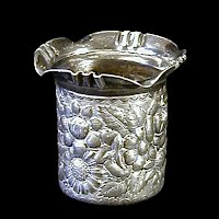 Antique Repousse Silverplate Toothpick Holder, 1900