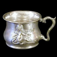 Antique Quadruple Plate Silver Shaving Mug, 1880 Victor Silver Co