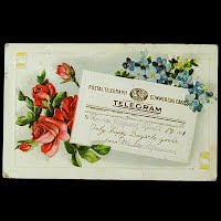 Antique Postcard, Postal Telegraph Telegram