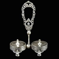 Antique Silver Salt & Pepper Stand, Wilcox Silverplate Co 1885