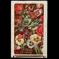 Antique Embossed Birthday Postcard, Germany postmark 1910