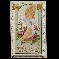 Antique Embossed Birthday Postcard