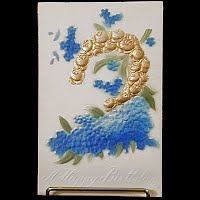 Antique Embossed Birthday Postcard, Germany