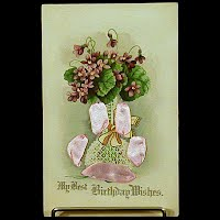 Antique Birthday Postcard, postmark 1918