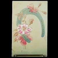Antique Embossed Birthday Postcard, postmark 1909