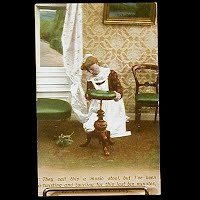 Antique 1907 Bamforth Postcard, Music Stool
