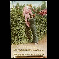 Antique 1913 Bamforth Postcard, Come Over the Garden Wall