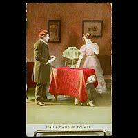 Antique 1912 Bamforth Postcard, Narrow Escape