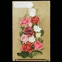 1909 Antique Embossed Postcard, Roses
