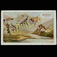 1909 Antique Postcard, Language of Flowers Pansy: Think of Me