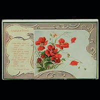 Antique Postcard, Language of Flowers Rose