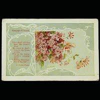 Antique Postcard, Language of Flowers Lilac