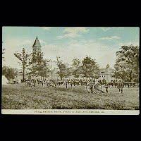 Antique Postcard. Firing National Salute, 4th of July, Sheridan, Illinois