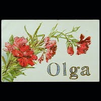 Antique Postcard, Olga with Flowers