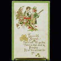 1913 Antique Postcard, St. Patrick's Day, Here's a Little Shamrock