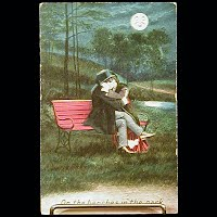 Antique Bamforth Postcard, On the benches in the park