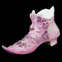 Antique Pink Luster Porcelain Shoe, 1900's