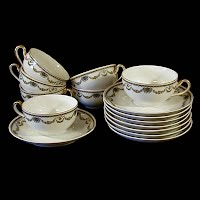 Antique Bavaria Flower Garland Cups and Saucers, 1930 Heinrich and Co. Bavaria