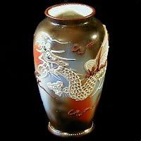 Antique Moriage 1920's Dragon Vase, Takito Co. Japan
