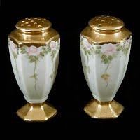 Hand Painted Bavaria Salt & Pepper Shakers with gold trim, 1900's Germany