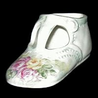 Vintage Porcelain Hand painted Baby Shoe
