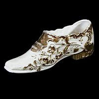 Antique White and Gold Porcelain Shoe, 1900's