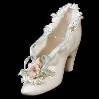 Vintage Lace Porcelain Shoe, 1940's