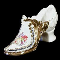 Antique Hand Painted Porcelain Shoe with gold trim, 1890's
