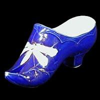 Antique Cobalt Blue Porcelain Shoe with dragonfly, 1890's