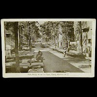 Real Photo Antique Postcard, World War I Beds Being Aired in Open Camp Merritt NJ