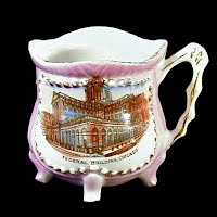 Small Antique Porcelain Cup, 1900 made in Germany, Souvenir of Federal Building Chicago