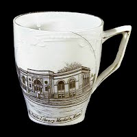 Small Antique Porcelain Cup, 1900 made in Germany, Souvenir of Mankato Public Library